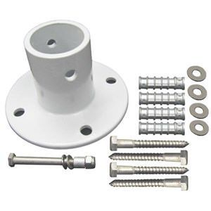 Perma-Cast PF-3119-A White Aluminum Deck Flange with Hardware 1.90