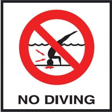 Pool No Diving Image Non-Skid Ceramic Tile - 6 In x 6 In